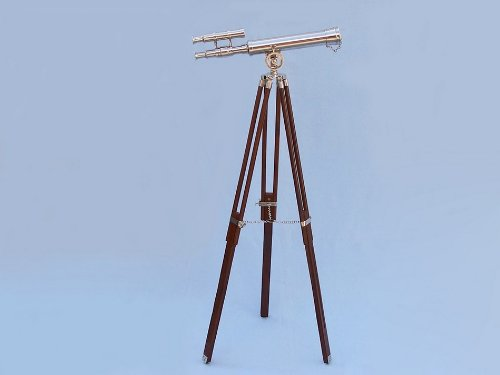 "Floor Standing Chrome - Leather Harbor Master Telescope 42"" With Wood Legs"