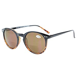 Eyekepper Key Hole Style Spring-Hinged Round Bifocal Sunglasses Sun Readers Black-Tortoise +2.0