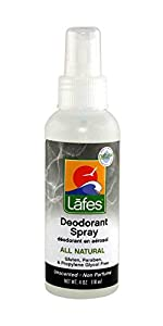 Lafes Deodorant Spray with Aloe Vera, 4 Ounce
