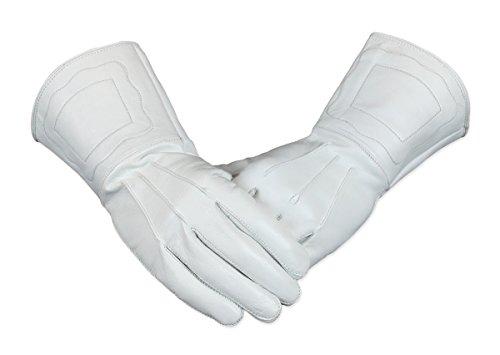 Historical Emporium Men's Genuine Leather Gauntlets XL White Genuine Leather Gauntlet Gloves