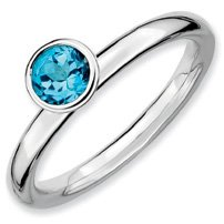 0.56ct Silver Stackable 5mm Round Blue Topaz Band. Sizes 5-10 Available