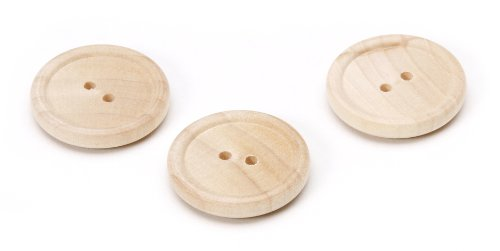 Darice 9147-37 Unfinished Wood Natural Rim Button, 1-Inch