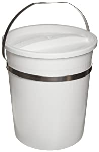 "Bel-Art Scienceware 167710000 Low Density Polyethylene Small Pail with Lid, 8qt Capacity, 8"" ID x 10"" Height, White"