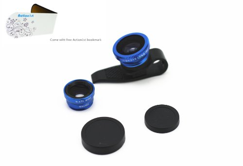 Action1St 3-In-1 Universal Clip On Detachable Wide Angle+Macro+Fish-Eye Lenses Kit For Iphone 4 4S 4G 5 5G 5S 5C Samsung Galaxy S2 I9100 S3 I9300 S4 I9500 Note1/2/3,Blackberry (Blue)