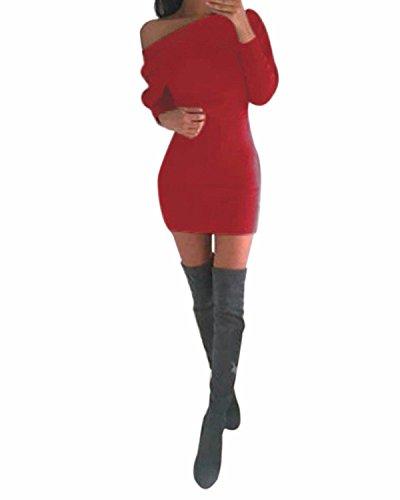 ZANZEA Donne Vestito Corto Casuale Ufficio Elegante Collo Asimmetrico Maniche Lunghe Rosso IT 38