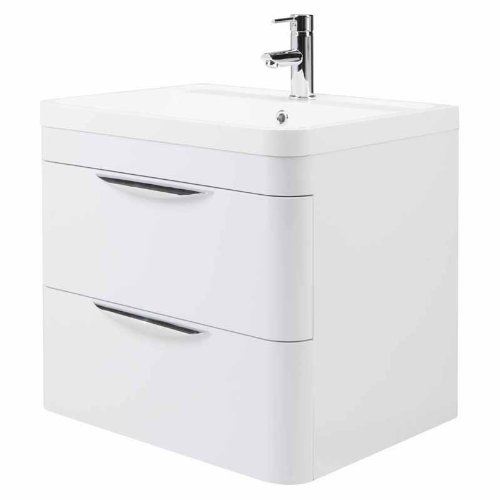 Trueshopping Parade 600mm Wall Mounted 2 Drawer White Gloss Bathroom Vanity Unit Basin Sink and Unit Cloakroom Storage Cabinet Furniture