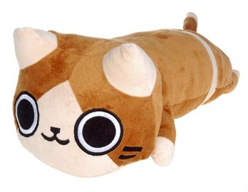 Cat Design Plush Pillow Doll (Brown)