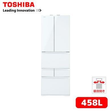 [設置込み]東芝 6ドア冷蔵庫 458L クリアシェルホワイト GR-H460FV-ZW