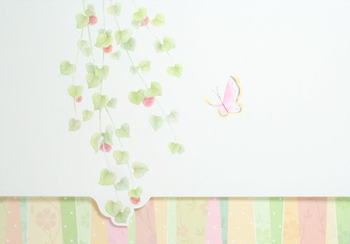 Tri-Fold Card With Butterfly And Diecut Vine Baby Shower Invitations - Set Of 20