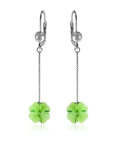 Absolute Crystals Pendiente Suelto Hanging Clovers Verde Cesped