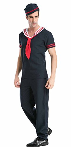 JustinCostume Men's Adult Deck Sailor Role Cosplay Outfits Halloween Costumes