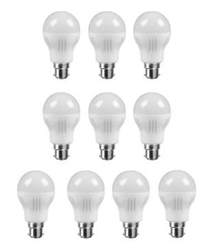 10W-Virgin-Plastic-B22-LED-Bulb-(White,-Pack-Of-10)
