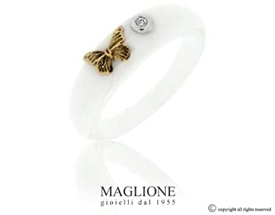 Dalù ring in ceramic and white or yellow gold butterfly with natural diamond