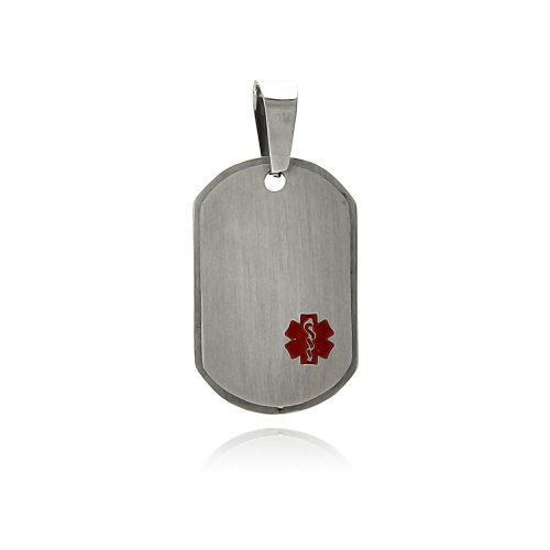 **Lead Free** Stainless Steel 20Mm(W)X30Mm(H) Caduceus Design Dog Tag Fashion Charm Pendant