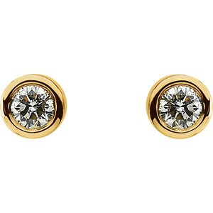 14K Yellow Diamond Solitaire Earring Pair 1/2 Ct Tw 61086