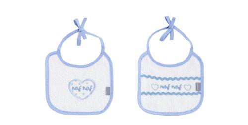 Naf Naf - Set di 2 bavaglini con motivo a cuori, 100% cotone, colore blu, 24 x 33 cm