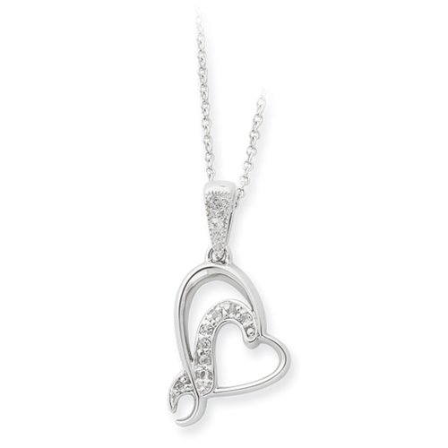 For My Bridesmaid, Heart Necklace in Sterling Silver