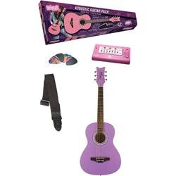 Daisy Rock Debutante Jr. Miss Acoustic Short Scale Popsicle Purple Guitar Pack