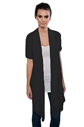 Blanks Women's Fine Jersey Drape Front Cardigan, Small Black