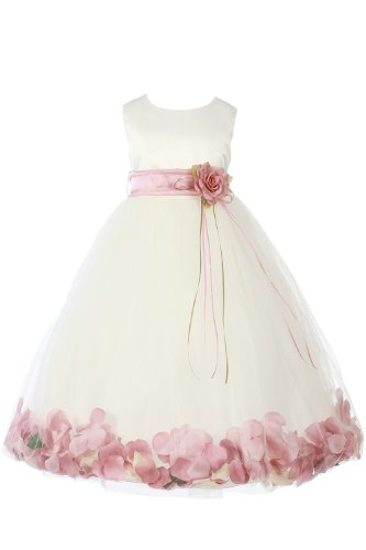 Jm Dreamline Ivory/Dusty Rose Girls Sleeveless Satin Flower Petal Dress With Sash-4