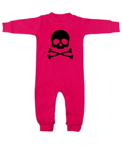 Skull & Crossbones Hot Pink & Black Romper 12-18 Months front-559349