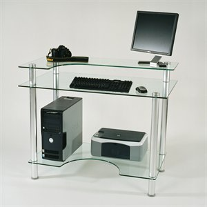 Buy Low Price Comfortable Glass and Aluminum Computer Desk (Clear Glass and Aluminum) (4'H x 27″D x 43″W) (B0017U8MZW)