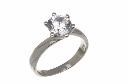 9ct White Gold Ladies' Stone Set Engagement Ring Size L
