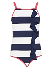 Striped Frilled Swimsuit