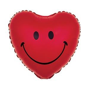 Happy Heart Smiley Face on Red 18 Inch Balloon: Health & Personal Care