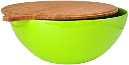 Eco Bamboo Salad Bowl with Bamboo Wood Cover, Green