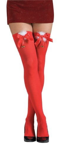 Rubie's Costume Thigh High Stockings with Marabou Trim Bows and Jingle Bells Costume