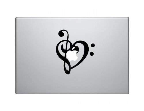 Heart Shape Music Note Macbook Decal Skin Sticker Laptop