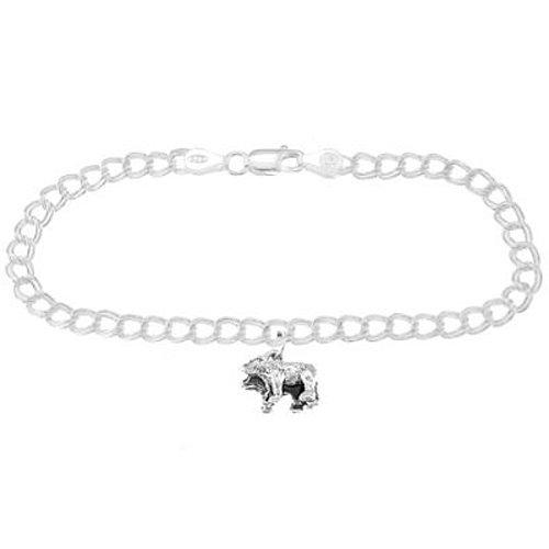 Silver Noahs Ark Bears on 4 Millimeter Charm Bracelet