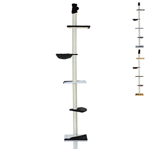 Deckenhoher-Katzenbaum-LCP6-Kratzbaum-Sisal-Decken-Turm-240-bis-270-cm-schwarz-weiss