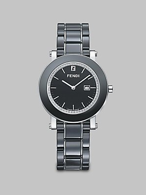 Fendi Ceramic Black Diamond Dial and Bracelet Quartz Watch - F641110D