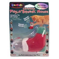 Our Pets Play n Squeak Christmas Mouse Interactive Cat Toy