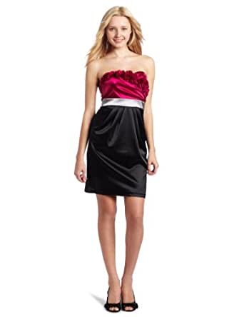 A. Byer Juniors Satin Pleated Overlap Dress, Magenta, 3