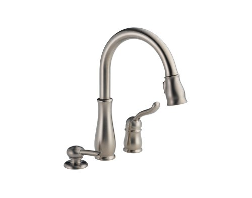 Delta Faucet 978-SSSD-DST Leland Single Handle Kitchen Faucet With Pull Down Spray, Soap Dispenser, and Diamond Seal Valve, Stainless