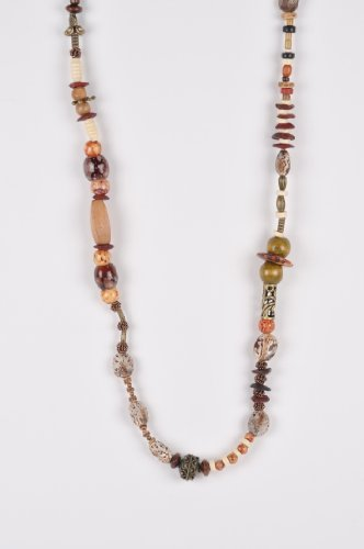 Long Beaded Necklace with Natural Elements in Earth Tones
