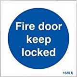 SIGN, FIRE DOOR KEEP LOCKED, SAV
