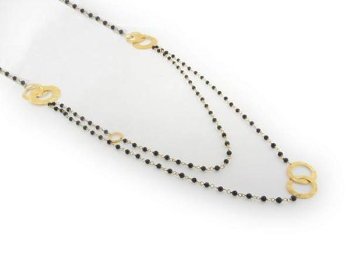 FRonay 14K Gold and Black Hammered Flowers Double Strand Necklace