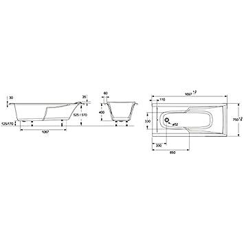 jacob delafon baignoire corvette rectangulaire jacob delafon 170x75 cuisine maison. Black Bedroom Furniture Sets. Home Design Ideas