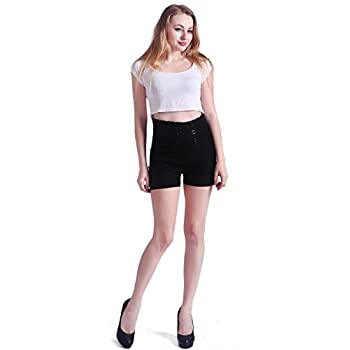 HDE Women's Vintage High Waisted Sailor Shorts Front Button Pin Up Stretch Waist