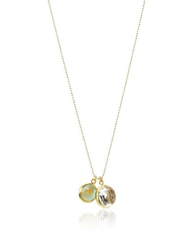 Indulgems Reversible Flower-Cut Charm Turquoise Necklace