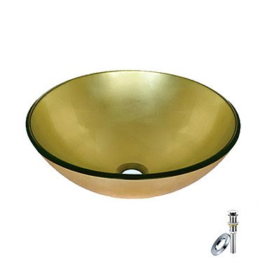 Golden Round Tempered glass Vessel Sink With Mounting Ring and Water Drain