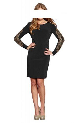 Apart Kleid m. Perlen, schwarz-gold Abendkleid Cocktailkleid Größe 34