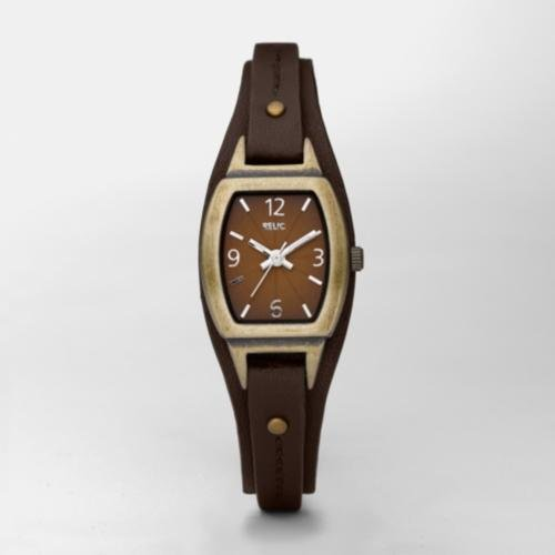 RELIC Brown Dial Brown Leather Strap Watch