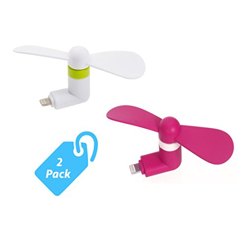 StyleTech Inc. Portable Cool Mini Rotating Fan for Apple Lighting Port Compatible with iPhone/iPods/iPad (2.) White + Pink) (Cyclone Inline Fan compare prices)