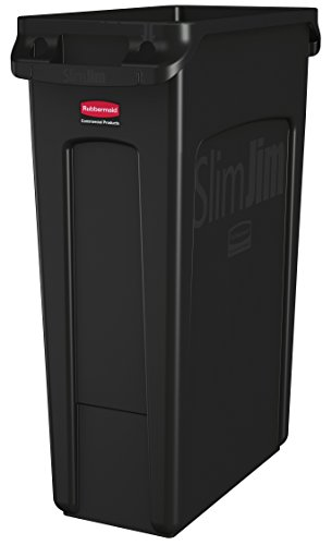 Rubbermaid Commercial Vented Slim Jim Trash Can, 23 Gallon, Black, FG354060BLA