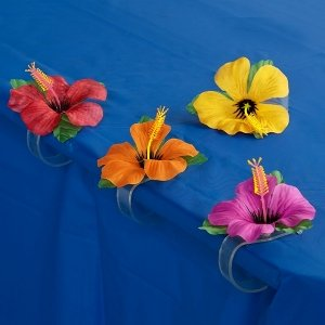 Hibiscus Flower Tablecover Clips 4ct